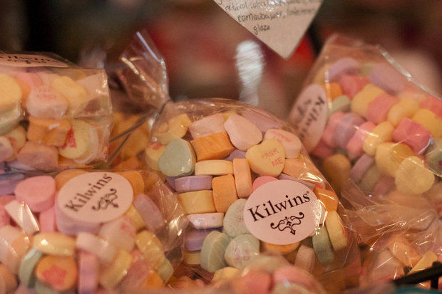 Conversation Hearts at Kilwins Chocolate Shoppe in downtown Ann Arbor. Photo Credit: Patrick Record | The Ann Arbor News