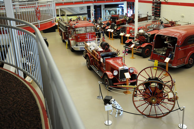 Old fire engines on display at the Michigan Firehouse Museum in Ypsilanti Thursday, February 27. Brianne Bowen | The Ann Arbor News