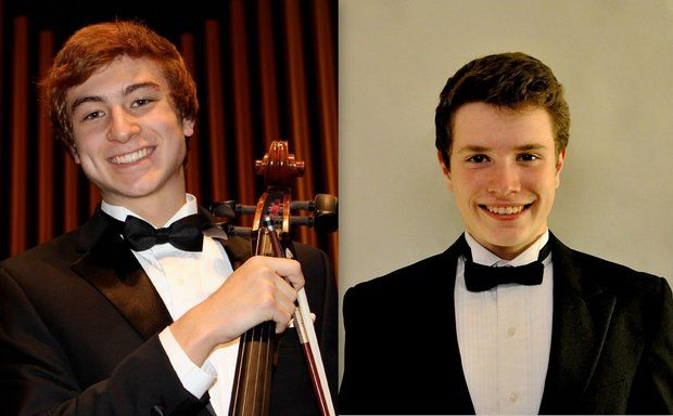 Local high schoolers and winners of Dexter Community Orchestra's Annual Youth Artist Competition, Padraig (Paddy) Harvey (right) and Forrest Flesher (left), will accompany the orchestra on stage this Sunday. (Courtesy Photo)